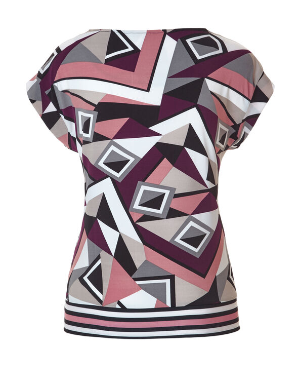 Geometric Print Side Tie Top, Grey/Bordeaux/White/Black/Peony, hi-res