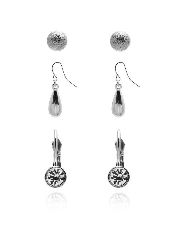 Rhodium Earring Set, Rhodium, hi-res