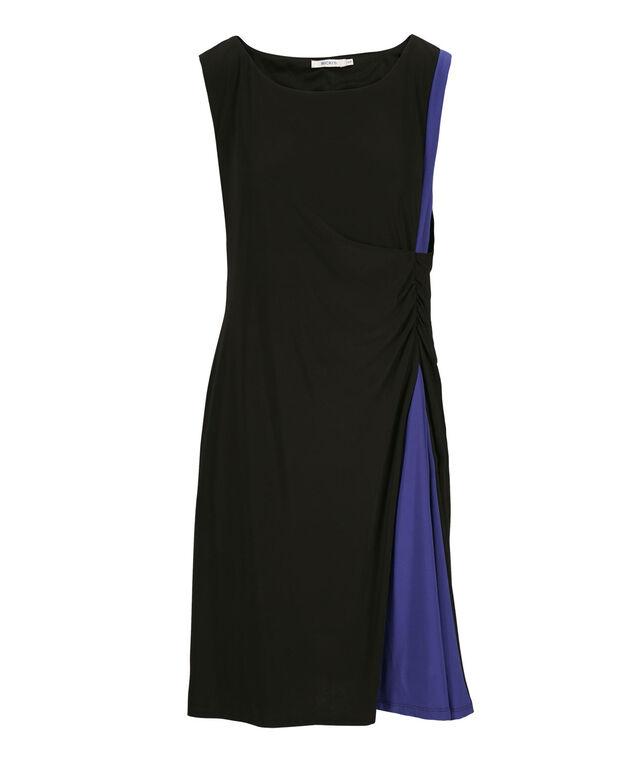 Colourblock Spliced Dress, Black/Blue, hi-res