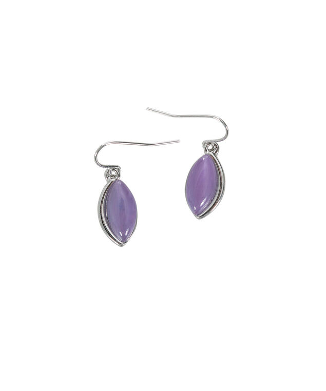 Oval Cateye Earring, Mauve/Hematite, hi-res