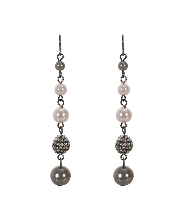 Pearl Ball Drop Earring, Grey/Rhodium, hi-res