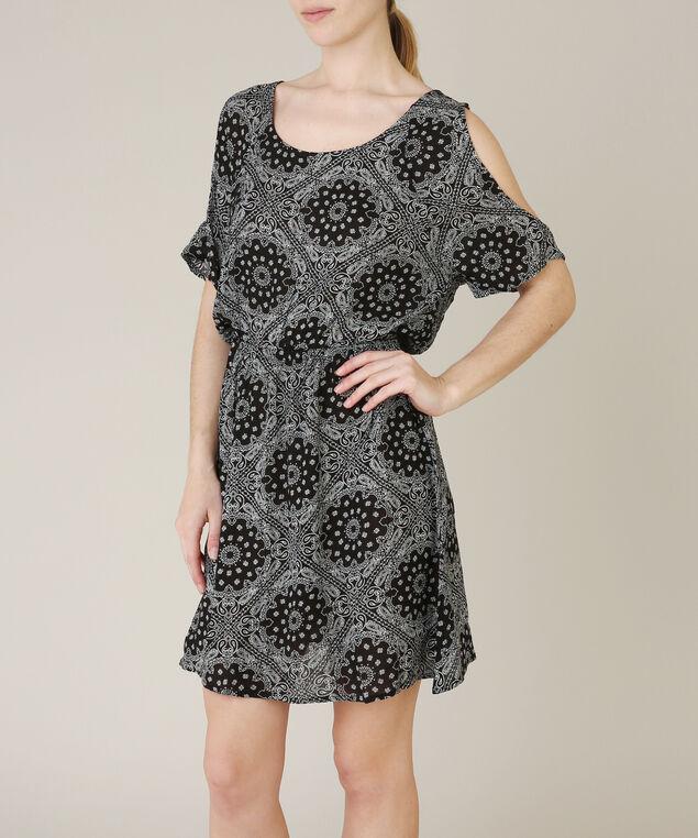 cold shoulder dress, BLACK PATTERN, hi-res