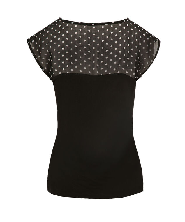 Polka Dot Chiffon Yoke Top, Neutral Pattern, hi-res