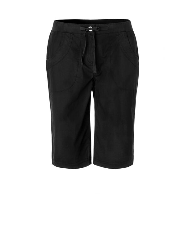 Black Poplin Pull On Short, Black, hi-res