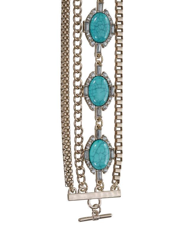 Turquoise Stone Toggle Bracelet, Turquoise/Soft Gold, hi-res