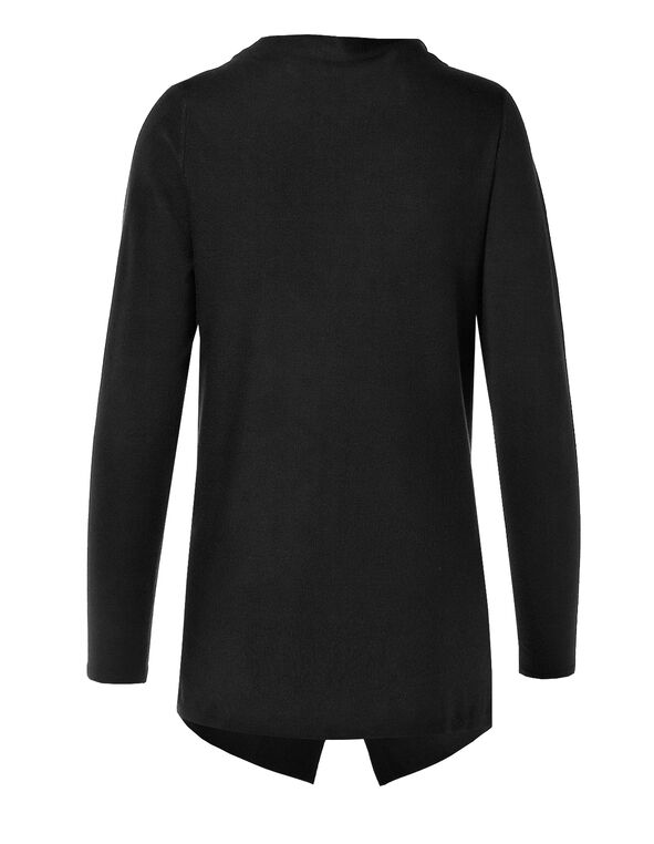 Black Wrap Sweater, Black, hi-res