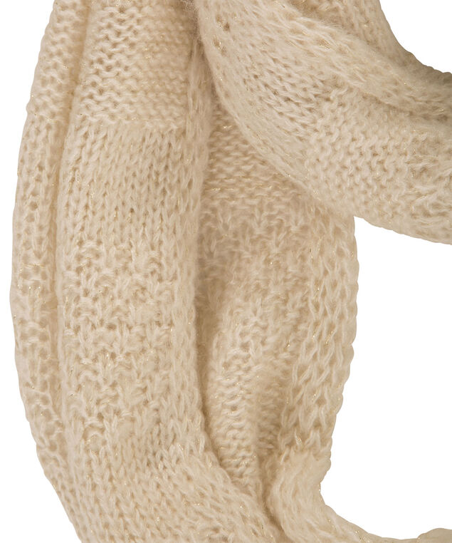 Crochet Knit Lurex Scarf, Almond, hi-res