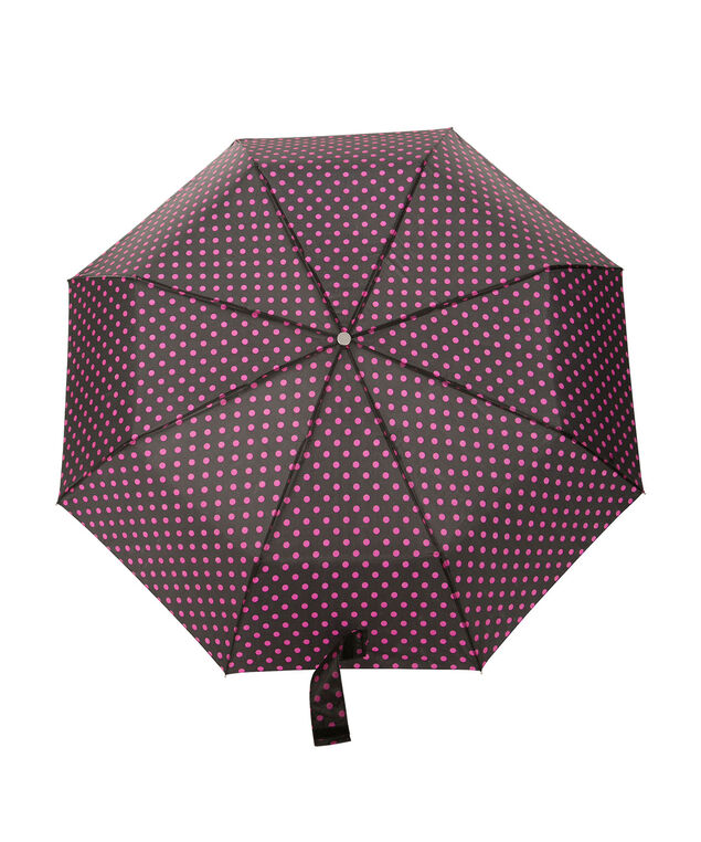 Dot Print Umbrella, Black/Pink, hi-res