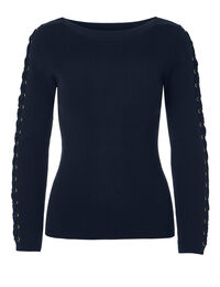 Navy Tie Up Sleeve Sweater