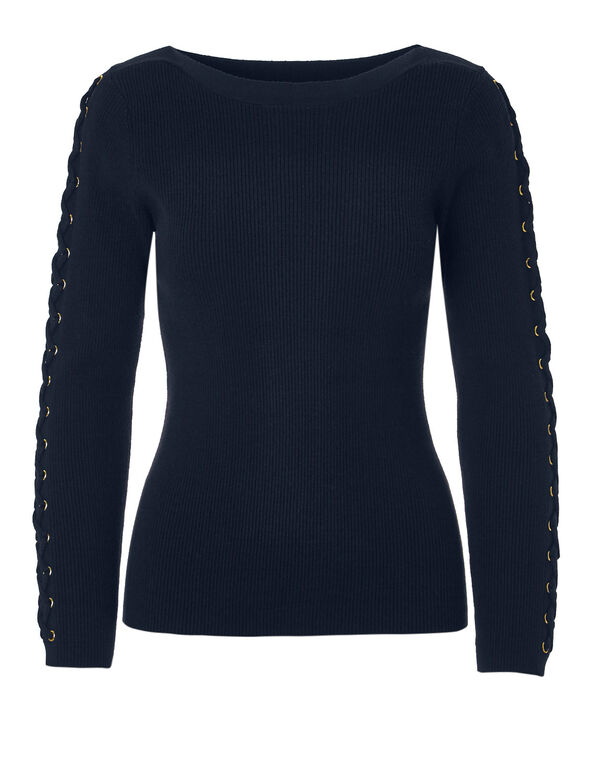 Navy Tie Up Sleeve Sweater, Navy/Gold, hi-res