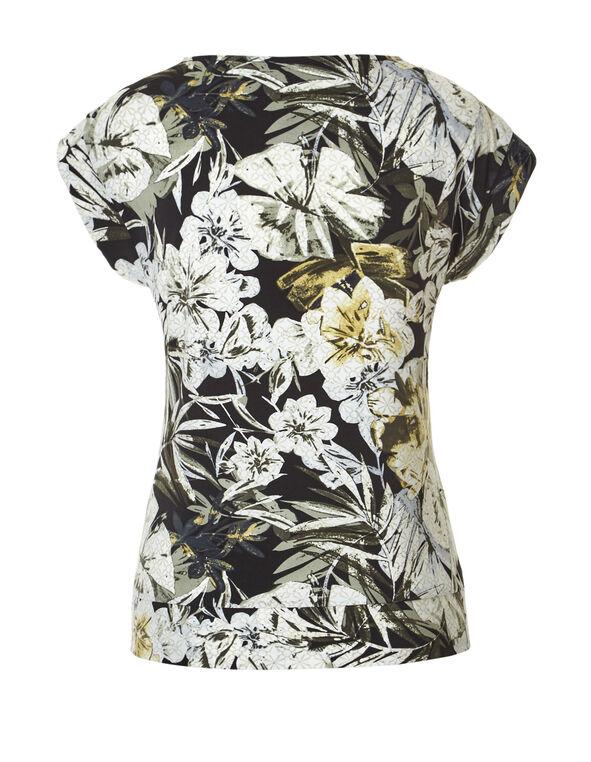 Floral Print Side Tie Top, Sage/Ivory/Olive/Stone, hi-res