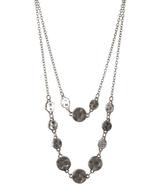 Layered Hammered Circle Necklace, Burnished Silver, hi-res
