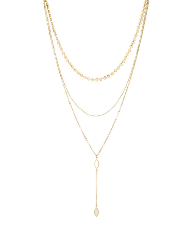 triple layer choker with pendant, GOLD, hi-res
