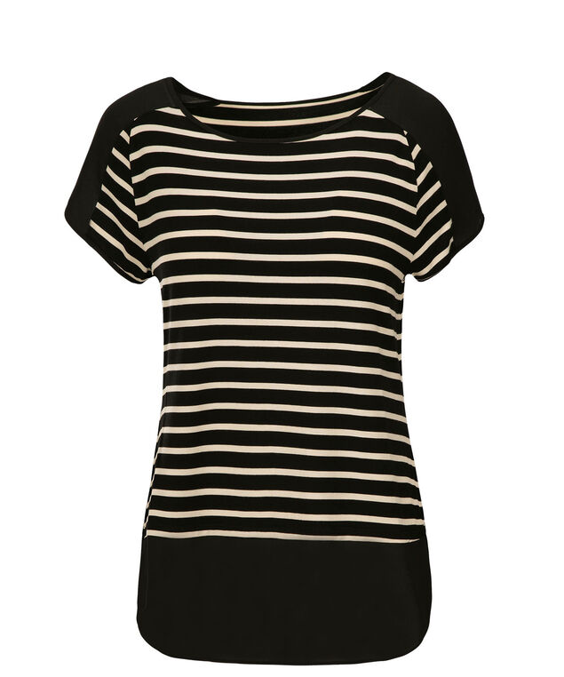 Striped Chiffon Trim Tee, Neutral Print, hi-res