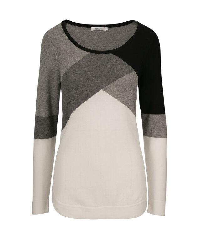 Colourblock Sweater, Grey/Black, hi-res
