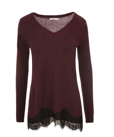 Scallop Lace Pullover, Chokecherry, hi-res
