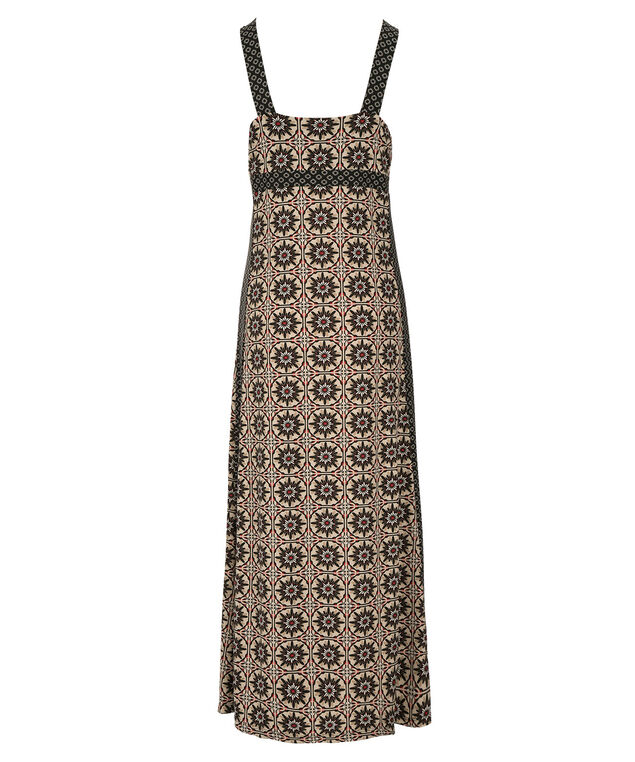 Printed Maxi Dress, Red/Tan Print, hi-res