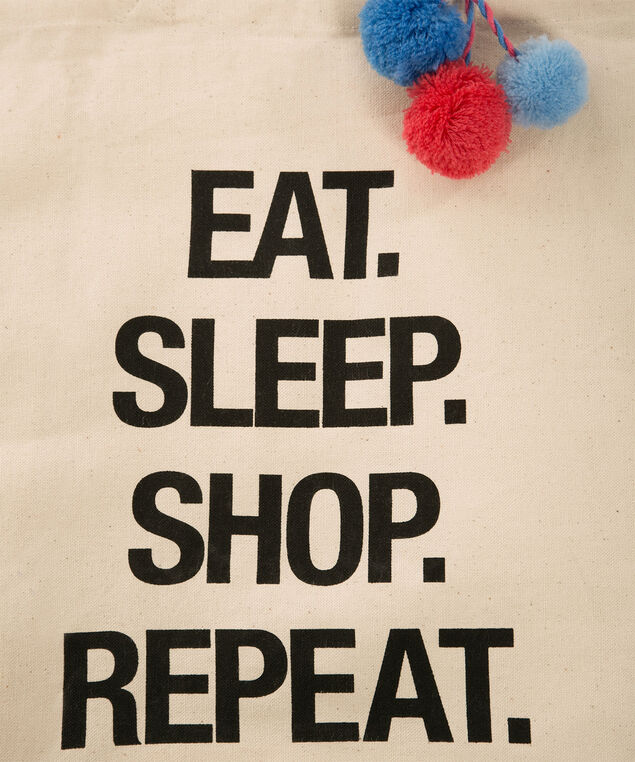 Eat Sleep Shop Reusable Tote Bag, Neutral, hi-res