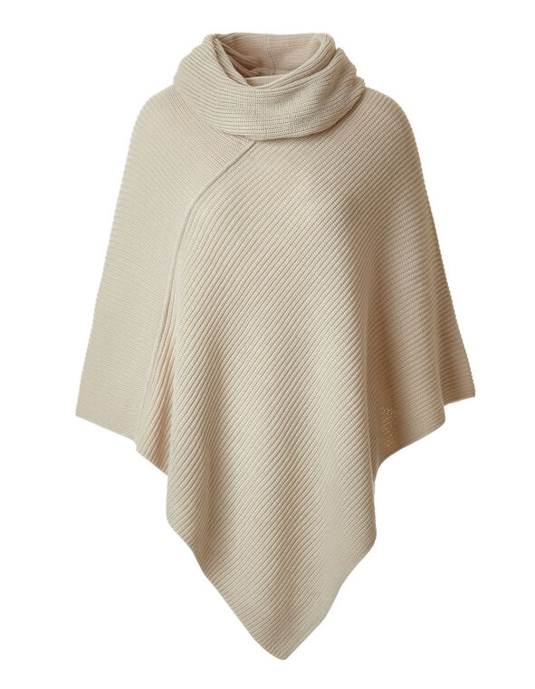 Latte Ottoman Poncho With Scarf, Latte, hi-res