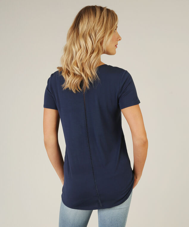 ladder crochet insert v neck tee, NAVY, hi-res