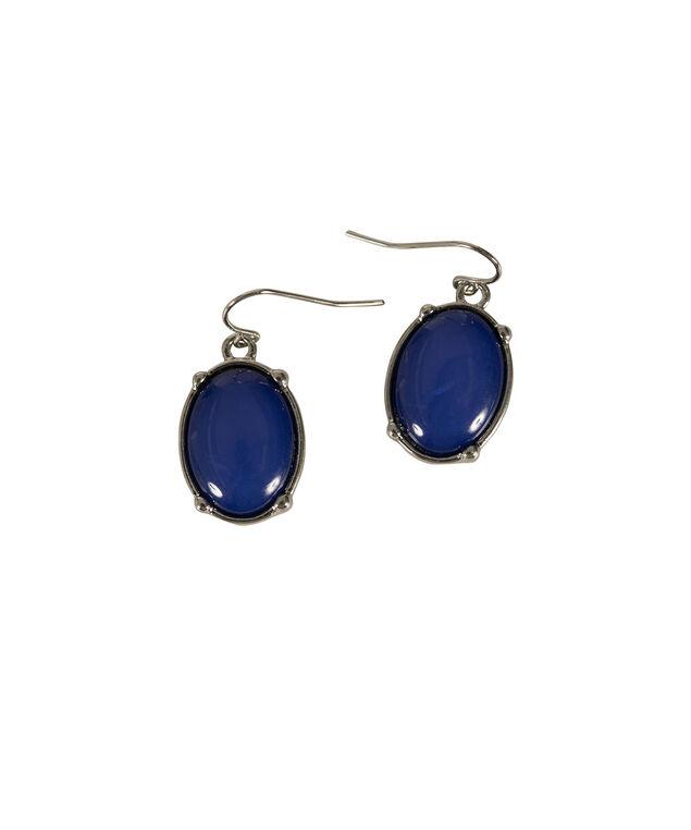 Oval Cateye Earring, Blue/Rhodium, hi-res