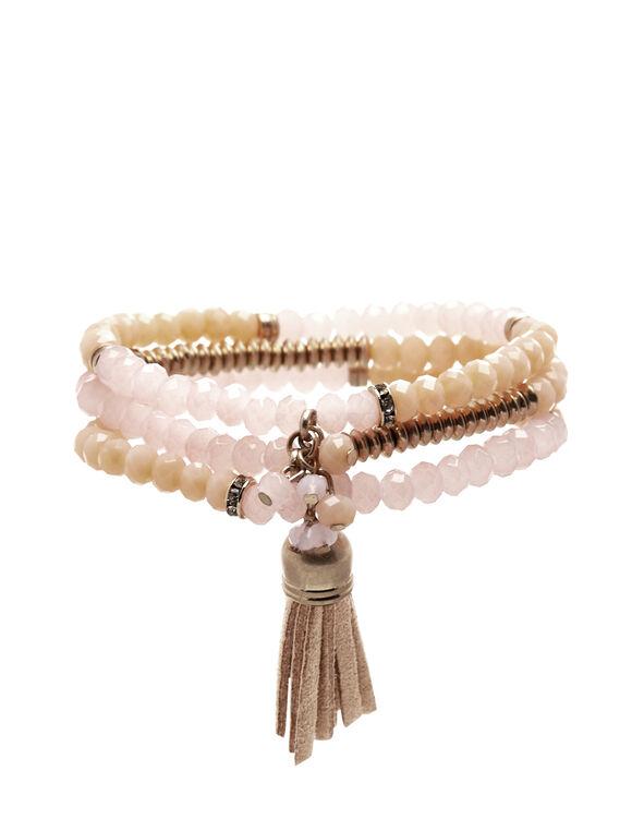 3 Strand Bracelet Set, Pink/Peach, hi-res
