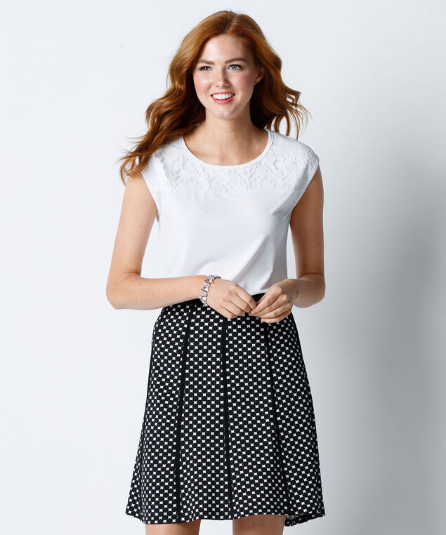 Polka Dot Piping Flip Skirt, White/Black, hi-res