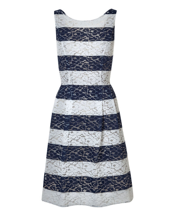 Navy Lace Fit and Flare Dress, Navy/White, hi-res