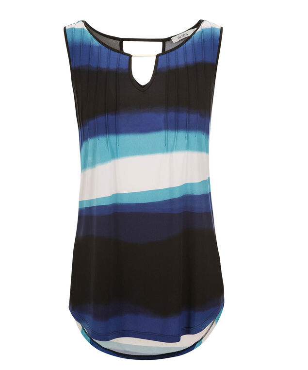 Pleat Front Hardware Tank, Sapphire Print, hi-res