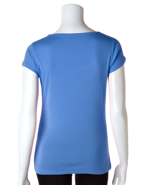 Solid Sweetheart Neck Tee, Cerulean Blue, hi-res