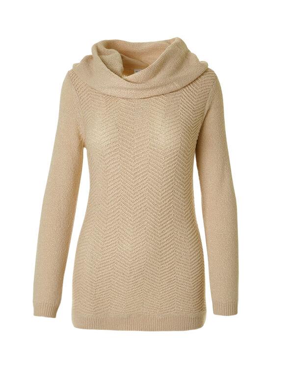 Zig Zag Knit Cowl Sweater, Latte Mix, hi-res