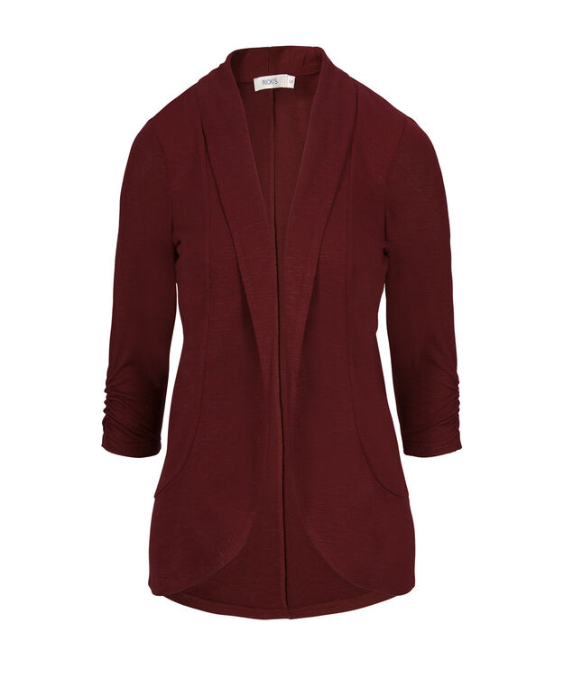 Shawl Collar Cover Up, Burgundy, hi-res