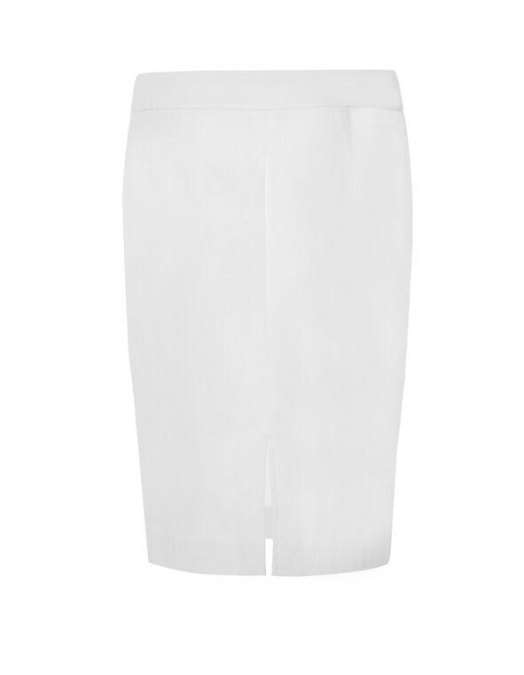 White Signature Pencil Skirt, White, hi-res