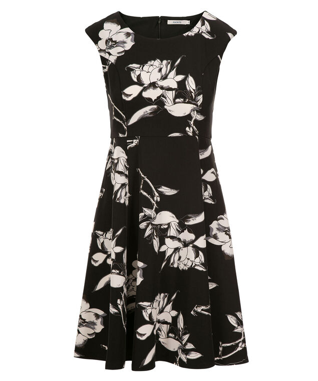 Floral Print Scoop Neck Dress, Black Print, hi-res