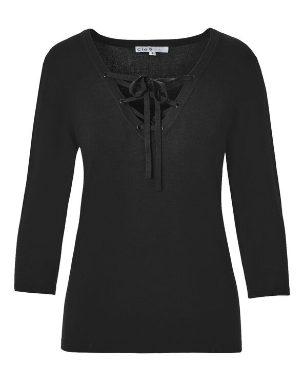 Black Tie Up Sweater, Black, hi-res