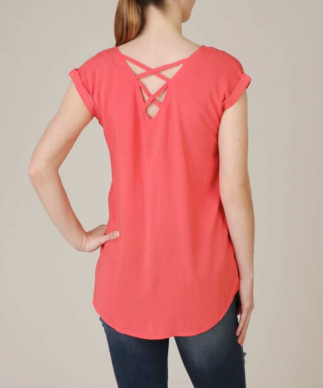 criss cross back top, CORAL, hi-res