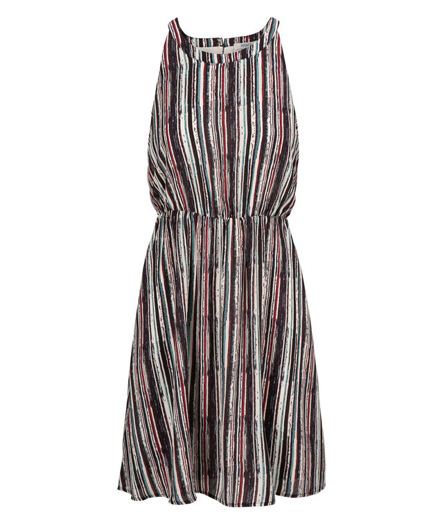 Blouson Striped Dress, Purple Multi Stripe, hi-res