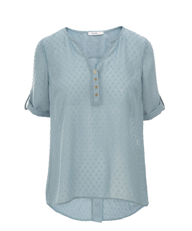 Roll cuff Button Back Blouse, Blue, hi-res