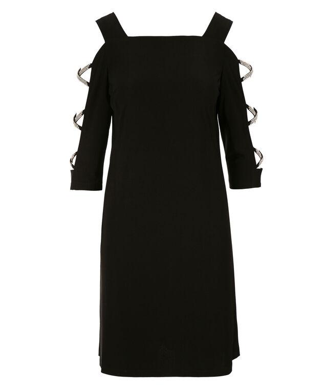 MSK Jewel Cold Shoulder Dress, Black, hi-res