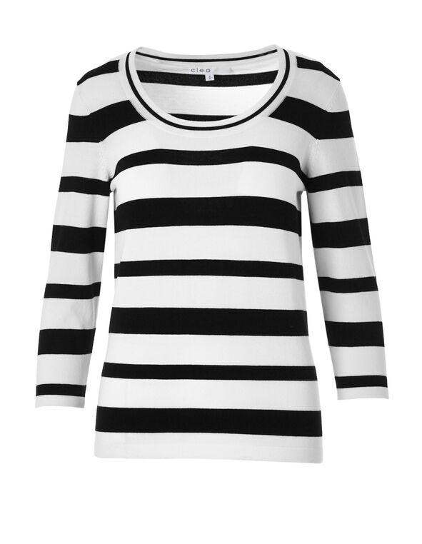 Open Neck Striped Sweater, Black/Ivory, hi-res