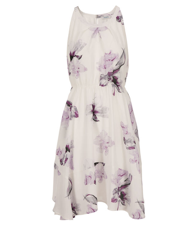 Floral Watercolour Dress, White/Pink Print, hi-res