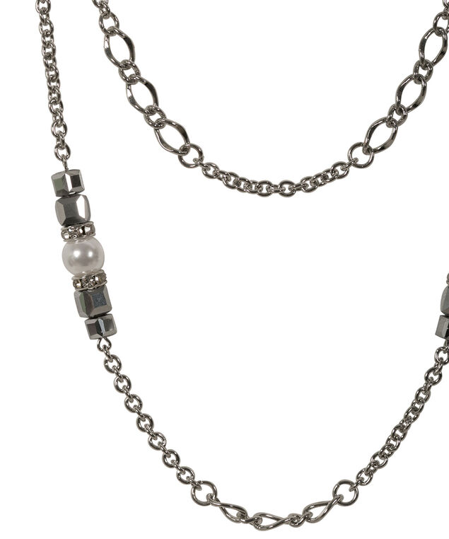Stationed Pearl & Square Necklace, White/Rhodium, hi-res