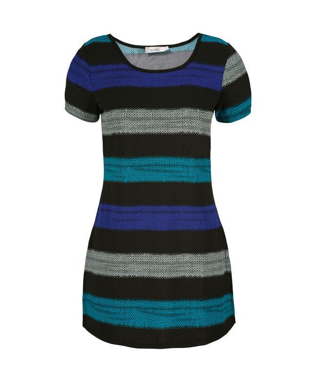 Striped Wedge Top, Black Print, hi-res