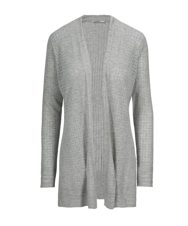Classic Pointelle Cardigan, Grey, hi-res