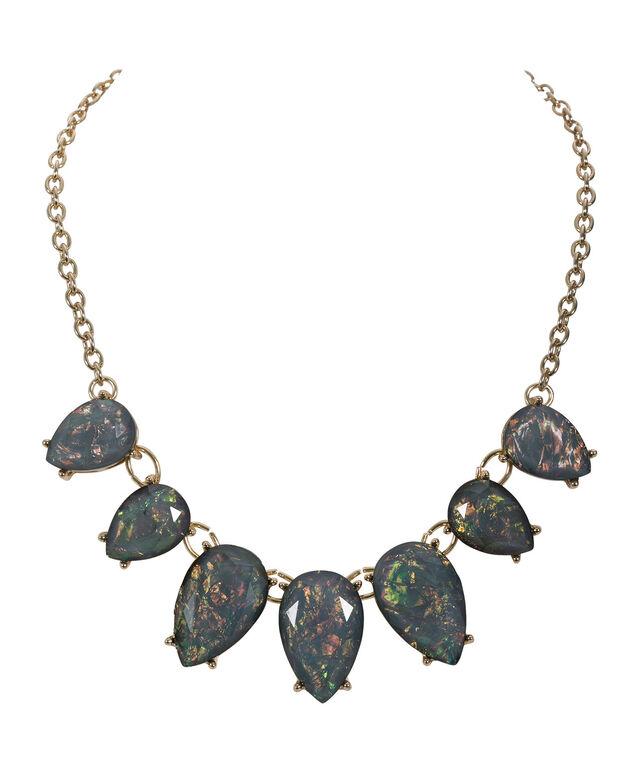 Foil Teardrop Necklace, Green/Antique Gold, hi-res