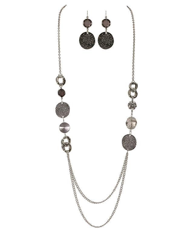 Hammered Circle Necklace Set, Jet Hematite/Rhodium, hi-res