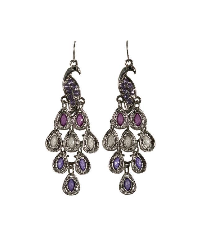 Pretty Peacock Earring, Violet/Rhodium, hi-res