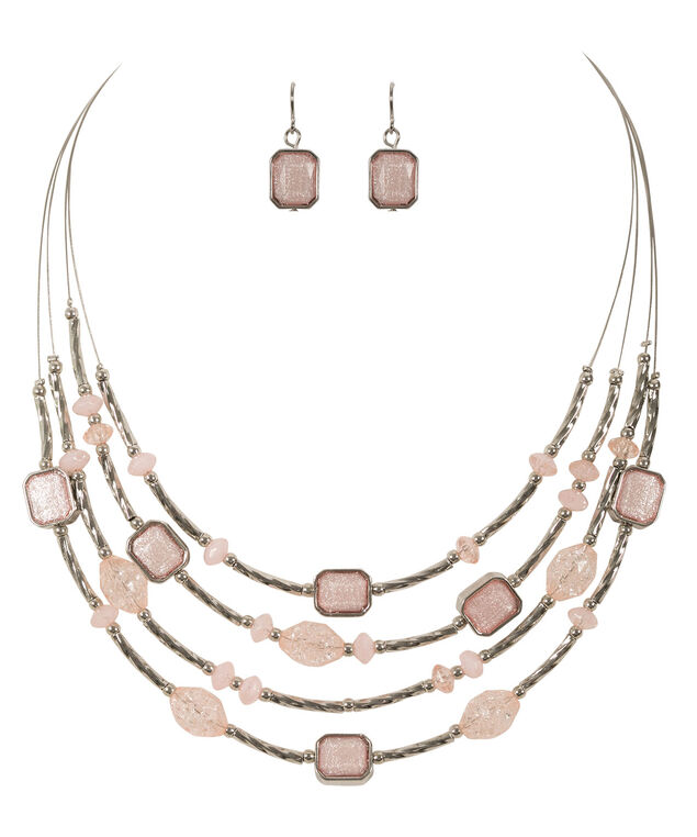 Beaded Wire Necklace Set, Pink Blush/Rhodium, hi-res
