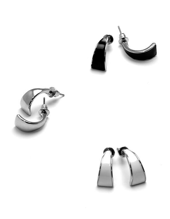 Silver Epoxy Earring Set, Rhodium/Black/White, hi-res
