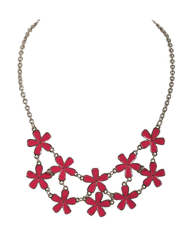 Painted Epoxy Flower Necklace, Strawberry Daiquiri/Rhodium, hi-res